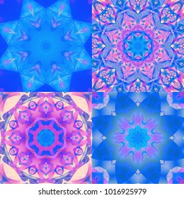 Set of multicolor dark abstract backgrounds. Kaleidoscopic illustrations seamless. Bright flower.