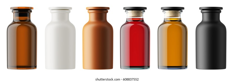 Set of multi-colored glass bottles isolated on white background. Oil, cosmetics, perfume, medicament. Small bottle. 3D rendering mock up for your design.