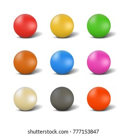 Set of multi-colored glossy balls for playing snooker with shadow, isolated on white background. Elements of design of sports equipment. 3d style,  illustration.