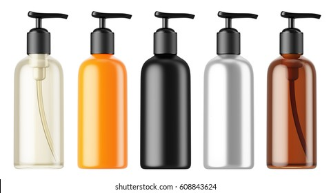 Set of multi-colored plastic bottles isolated on white background. 3D rendering mock up for your design. Realistic cosmetic bottle. Brand template. Lotion, oil, shampoo, conditioner, gel, cosmetics.