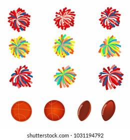 Set of multicolored pom-poms. Basketball and football balls. Raster version.
