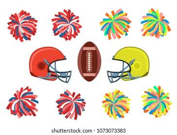 Set of multicolored pom-poms, Helmets and ball. Raster version.