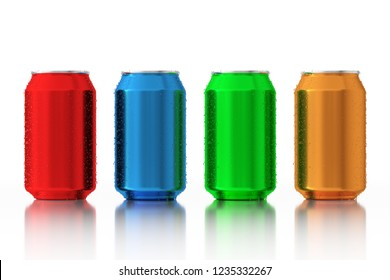 Set of Multicolour Blank Aluminum Cans with Water Drops on a white background. 3d Rendering