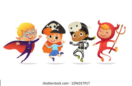 Set of Multiracial Boys and Girls, wearing Halloween costumes isolated on white background. Cartoon  characters of Kid witch, pirate, Dracula, devil, skeleton, mummy, for party, web, mascot