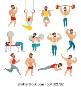 Set of muscular, bearded mans illustration. Fitness models, posing, bodybuilding. Sports people in the gym. Gymnastics rings, running. Isolated on white background