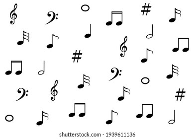 Set of music notes. Black silhouette isolated on white background. illustration black and white pattern for background.