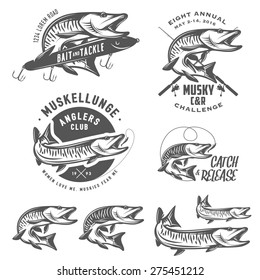 Set of muskellunge musky fishing design elements