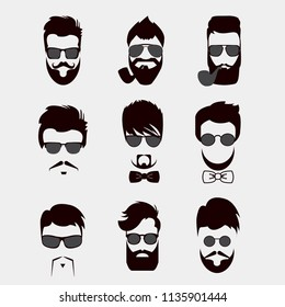Set of mustache, beards, hair hipster with glasses, bow tie and smoking pipe . Retro curly collection. Barber silhouette set
