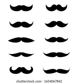 Set of mustache isolated on a white background. Flat icon design