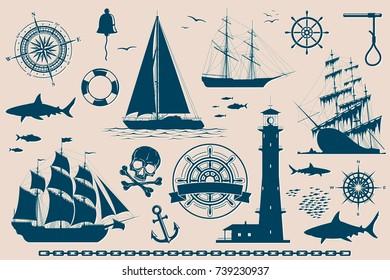 Set of nautical design elements, sailing ships, yachts, wind roses and skull. Raster   illustration