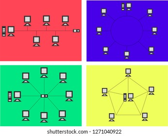 Set of Network Topology Internet Connection with Color Illustration
