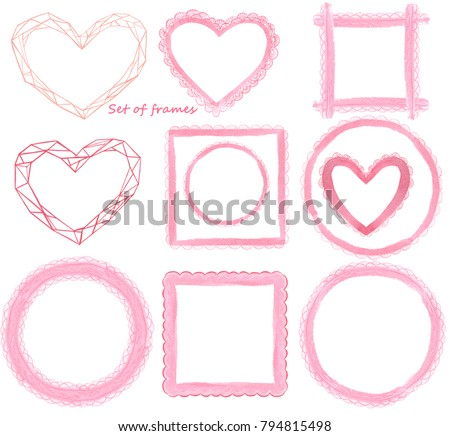 Set New Year Frames Form Hearts Stock Illustration 794815498 ...