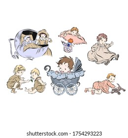 Set with newborns in vintage style. Baby in a stroller. Twins play. Hand drawn kids from the nineteenth century.