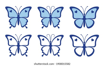 Set of nice blue butterflies with hearts isolated on a white background. Silhouette of a butterfly is perfect for wedding invitations, logo and gift vouchers