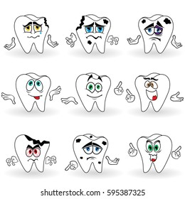 Set of nine amusing cartoon teeth with various face grimaces and with hand gesticulating, color illustrations