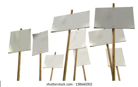 A set of nine blank, white picket placards attached to wooden stakes on an isolated background