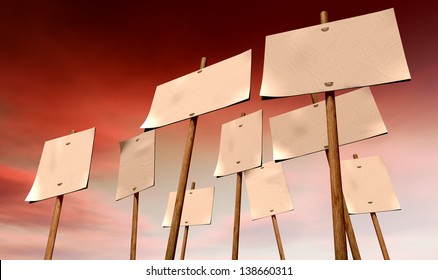 A set of nine blank, white picket placards attached to wooden stakes on an ominous red sky background
