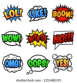 Set of nine different, colorful comic stickers. Pop art speech bubbles with  LOL, LIKE, BOOM, WOW, WTF, NO, OMG, OOPS, YES.