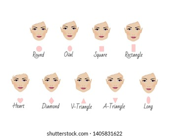Set of nine different woman's face shapes. Illiustration isolated on a white background