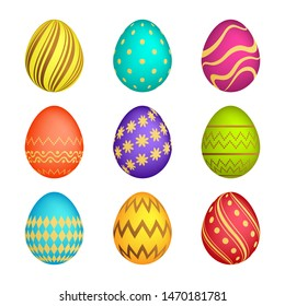Set of Nine Easter eggs with different colorful texture on a white background