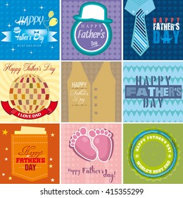 Set of nine mnemonics for Fathers day celebration