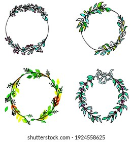 A set of nine wreaths of different densities and different colors. Colors: green, blue, peach. Wreaths with various flowers and berries. Watercolour technique.