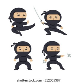 Set of ninja characters showing different actions. Serious ninja with sword running, attacking, throwing star, jumping, kicking, hitting. Flat style illustration