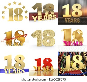 Set of number eighteen year (18 year) celebration design. Anniversary golden number template elements for your birthday party. 3D illustration.