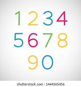 Set of Numbers. Thin line style uppercase modern font and typeface