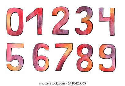 Set of numbers. Watercolor, ink, mixed media. Pink, yellow, purple, violet colors.