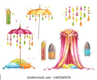 set of objects for a mehndi party, watercolor painting