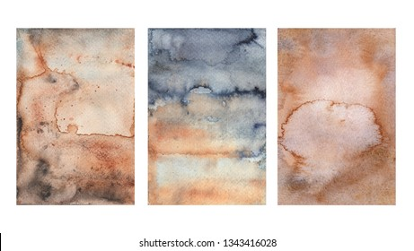 Set od old brown and navy blue rustic watercolor texture, stilized watercolor rust, mold or cloudy surface. Rusty vintage contemporary card set or wall art