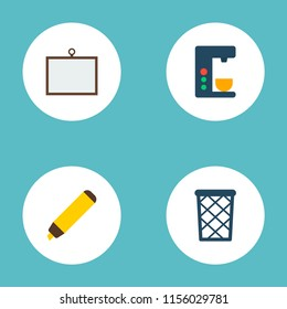 Set of office icons flat style symbols with desk, wastebasket, coffee maker and other icons for your web mobile app logo design.