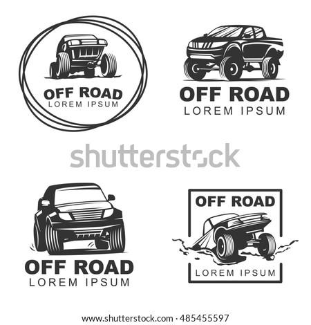 Set Offroad Suv Car Monochrome Labels Stock Illustration 485455597