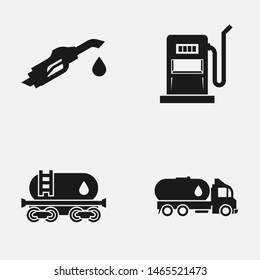 Set of oil and gas black and white   icons.