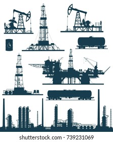 Set of oil and gas industry elements silhouettes. Oil refinery, offshore sea and land oil drilling rigs, pumpjack and railroad tanks. Raster  illustration.