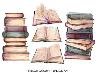 Set of old vintage books. Watercolor illustration isolated on white background.