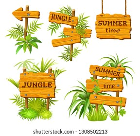 Set old wooden boards decorated leaves liana. Cartoon game panels in jungle style on dark background. Isolated 3d  illustration.