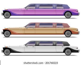 Set of old-styled realistic limousines isolated on white background. Side view.