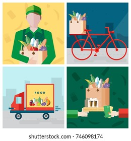 Set on delivery food theme. Courier, bicycle, payment for a purchase. Colorful illustrations collection in flat style