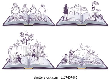 Set open book illustration musketeers, Tom Sawyer and Don Quixote