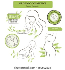 Set of Organic Cosmetics Design elements with contoured pregnant women, mother and newborn babies decorated by hand drawn green leaves