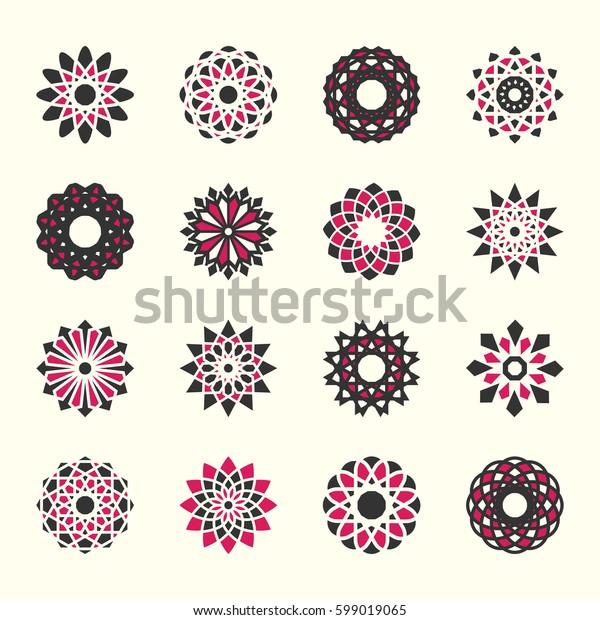 set of ornamental flowers in oriental style
