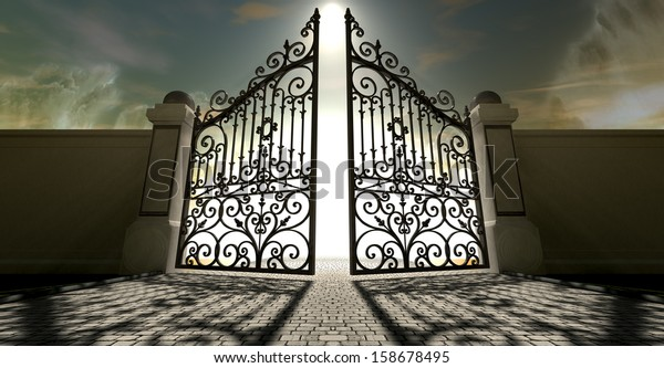A set of ornate gates to heaven opening under an ethereal light and cloudy afterlife