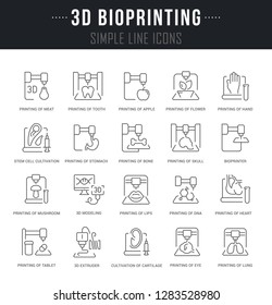 Set of outline signs and symbols of 3d bioprinting with names. Collection thin line icons and infographics elements. Simple linear pictogram pack for web graphics and apps.