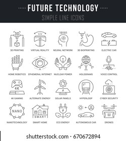 Set of outline signs and symbols of future technology. Collection  thin line icons and infographics elements. Simple linear pictogram pack for web graphics and apps. Raster version.