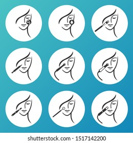 Set of outline Skin Care, Cosmetology Services, Skin Treatment, Cosmetic Procedures icons. Illustration. Can be used as service icons, logos for skin clinic, spa salon and  health concept.