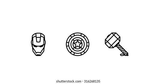 Set of outlined icons. Superhero's helmet, shield and hummer