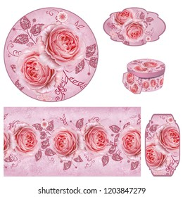 Set for packaging. Box round. Label. decoupage. Floral background, border. Pattern. Garland flower pink rose, camellia, green leaves. Openwork delicate lace, weaving, pearl, paisley element.