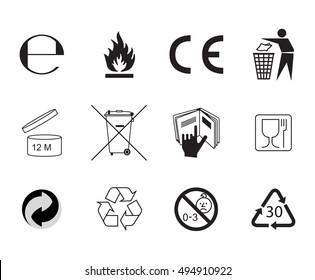 Set of Packaging Symbols. Handbook general symbols.